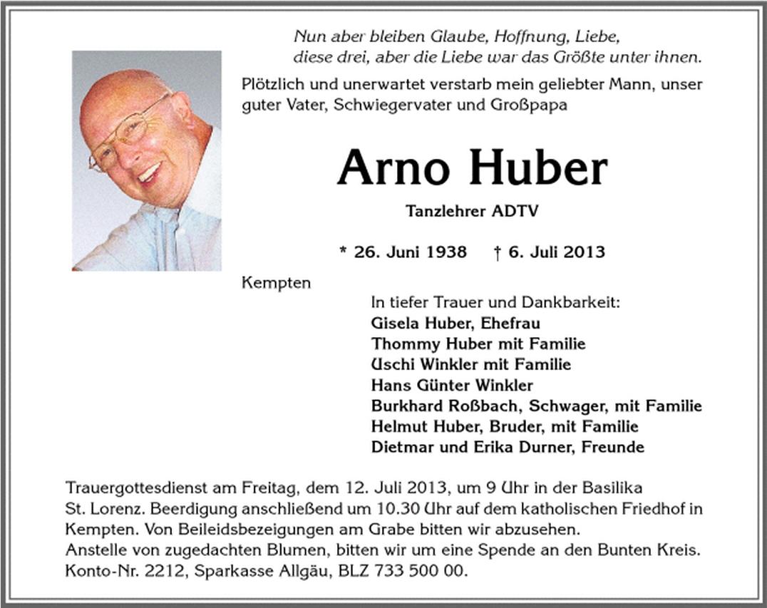Todesanzeige Arno Huber